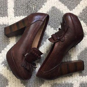 Frye Top Fringe Block heels size 7